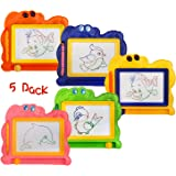 5 Piece Mini Magnetic Drawing Board for Kids - Travel Size Erasable Doodle Board Set - Small Drawing Painting Sketch Pad - Pe