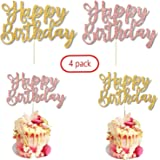4 Pack Happy Birthday Cake Topper, Color 2 Glitter Gold And 2 Rose Gold Birthday Cake Topper Birthday Party Decorations,1st F
