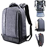 K&F Concept Waterproof DSLR Camera Backpack with Tripod Holder,Large Professional SLR Photo Rucksack for Canon Nikon Fuji and