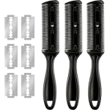 3 Pieces Razor Comb with 10 Pieces Razors, Hair Cutter Comb Cutting Scissors, Double Edge Razor, Hair Thinning Comb Slim Hair