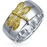 Two Tone Insect Garden Dragon Fly Ring For Women For Teen 14KT Gold Plated 925 Sterling Silver