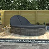 vidaXL 2-Person Sun Lounger with Cushions Outdoor Patio Garden Sunbed Day Bed Shelter Lounge Seating Seat Sitting Furniture P