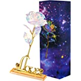 Zonon Galaxy Rose Artificial Rose Flower Plastic Colorful Rose with Love Shape Base for Valentine's Day, Mother's Day, Thanks