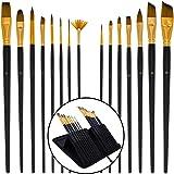 U.S. Art Supply 15 Piece Artist Long Handle Paint Brush Set in Zippered Nylon Pop-Up Travel Storage Case
