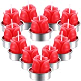 TecUnite 12 Pieces Rose Tealight Candles Handmade Delicate Rose Flower Candles for Valentine's Day Party Wedding Spa Home Dec