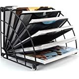 Desk File Organizer Fan Shaped Mesh 6 Compartment Magazine Holder Desktop Mail Letter Sorter Paper Rack for Office Home Schoo
