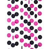 """WEVEN Hot Pink and Black Paper Garland Circle Dot Party Banner Streamer Backdrop Hanging Decorations, 2"""" in Diameter, 3 pcs,"""