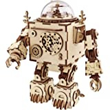 ROBOTIME 3D Wooden Puzzle Music Box Craft Toys Best Gifts for Men Women Kids Machinarium DIY Robot Figures with Light for Chr