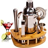 BRITOR Cocktail Shaker Set Cocktail Set,8 Piece Stainless Steel Bartender Kit with Curved Bamboo Base Kitchen Accessories Coc