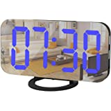 Digital Alarm Clock,Mirror Surface LED Electronic Clocks,with USB Charger,Snooze Model, Auto/Custom Brightness,for Office Tab