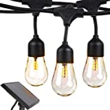 Brightech Ambience Pro - Waterproof Solar LED Outdoor String Lights - Hanging 1W Vintage Edison Bulbs - 27 Ft Commercial Grad