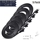 Ethernet Cable, 3 M / 10 ft 5 Pack Cat6 Black Flat Network Internet Cord with Cable Clips - Ikerall RJ45 Connector High Speed