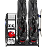 PLKOW Golf Bag Storage Garage Organizer, Fit for 2 Golf Bags and Golf Accessories, Extra Large Size Golf Bag Storage Stand an