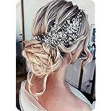 Catery Flower Bride Wedding Headband Silver Crystal Pearl Hair Vine Braid Headpiece Bridal Hair Accessories for Women and Gir