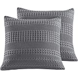 """PHF Waffle Weave Euro Sham Cover 26"""" X 26"""" 100% Cotton Throw Pillow Cover Pack of 2 Dark Grey"""