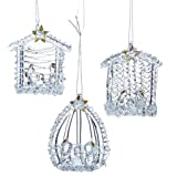 Kurt S. Adler 2.16-Inch Spun Glass Nativity, 3 Piece Set Ornaments, Multi