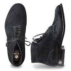 6in Plain Toe Boot: Navy Reversed Chamois