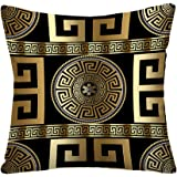 Tyfuty Greek-Key Throw Pillow Covers, Pillowcases Modern Geometric Greek Pattern Gold Wallpaper with Key Cushion Use for Livi