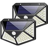 センサーライト 屋外 ソーラーライト 100LED 4面発光 【2019最新版 2個】 防犯ライト 人感センサー 3つ知…