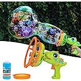 IFLOVE Bubble Machine Bubble Blower Dinosaur Bubble Gun Toy,Bubble Machine for Kids Giant & Small Bubble Maker with 8 oz Bubb