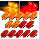Partsam 14x Trailer Marker LED Light Double Bullseye 10 Diodes Clearance Light Red/Amber, 4x2 Tiger Eye/Double Bubble 12V Rec