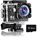 Gnolkee WiFi Action Camera, 4K 16MP Underwater Video Camera 170 Wide Angle Sports Camera with Remote, 2 Batteries, 16GB TF Ca