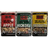B&B Apple, Hickory, and Mesquite Smoking Wood Chips Bundle from Competition Grade Wood Chips from Texas