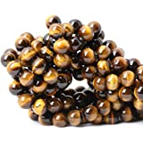Qiwan 35PCS 10mm Yellow Tiger Eye A Grade Gemstone Loose Beads Natural Round Crystal Energy Stone Healing Power for Jewelry M