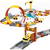 226pcs Construction Themed Race Tracks Set, Flexible Trains Tracks With 2 Race Trucks, Toy Cars Set for 2 3 4 5 6 7 Years Old