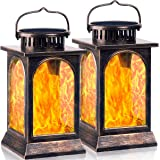 TomCare Solar Lights Flickering Flame Metal Solar Lantern Outdoor Hanging Decorative Lanterns Lighting Heavy Duty Solar Power