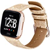 ALADRS Glitter Leather Watch Straps Compatible with Fitbit Versa/Fitbit Versa 2/Fitbit Versa Lite Edition Watch Bands, Shiny