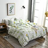 Argstar 3 Pcs Queen Duvet Covers Set, Botanical Bedding Sets Covers, Colorful Floral Pattern Cream Comforter Cover, Soft Ligh