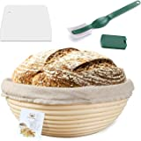 10 Inch Proofing Basket,WERTIOO Bread Proofing Basket + Bread Lame +Dough Scraper+ Linen Liner Cloth for Professional & Home