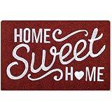 Red Welcome Door Mat Outdoor Indoor with Non Slip Rubber Backing Home Sweet Home Ultra Absorb Mud Easy Clean Front Door Heavy