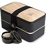 UMAMI Premium Bento Lunch Box for Adults/Children - Includes 1 Sauce Pot & Cutlery 3 Pieces - Japanese Hermetic Box - 2 Compa