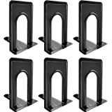 Bookends, Black Metal Nonskid Bookend Supports for Shelves Heavy Duty Books End, Office Book Stopper, 6 x 5 x 6 Inches, 6 Pie
