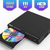 DVDプレーヤー、DVD/CD再生専用 TV用全地域DVD CD /ディスクプレーヤー、リージョンフリー、HDMI / AV出力付き、HDMI / AVケーブル付属、USB端子