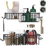 Hokyzam Shower Caddy Basket Bathroom Shelf with Hooks Shower Loofah Spong Kitchen Spice Organizer Shampoo Holder Storage Wall