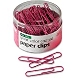 Officemate Breast Cancer Awareness PVC Free Giant Color Coated Paper Clips, 80per Tub, Pink (08908)