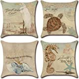 NEJLSD Throw Pillow Covers 18x18 inch Modern Decorative Cotton Linen Square Pack of 4 Throw Pillow Covers Cushion Case for So