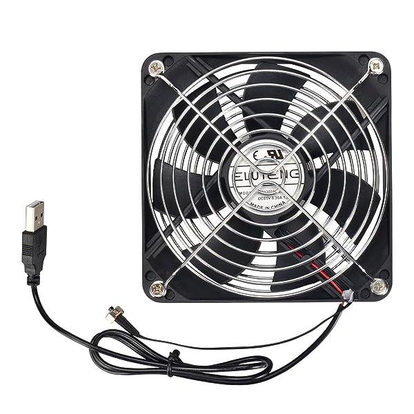 ELUTENG USB扇風機 風量 2段階調節 1500RPM / 1000RPM 静音 卓上 ファン 120mm USBファン