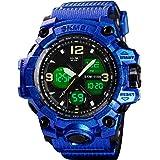 メンズ アナログデジタルLED 50m 防水 アウトドアスポーツウォッチ ミリタリー 多機能 カジュアル デュアルディスプレイ 12時間/24時間ストップウォッチカレンダー 腕時計 L ダークブルー