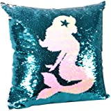 leegleri Mermaid Sequins Pillow Case, Reversible Sequin Throw Pillow Cover Zip,Magic Mermaid Gift Cushion Cover Couch Bed Sof