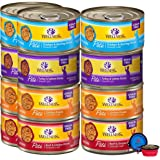 Wellness Natural Premium Canned Cat Wet Food Pate - 12 Pack Cans Variety Bundle Pack 4 Flavor - (Chicken,Beef, Salmon & Turke