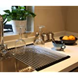 Ahyuan Wide Roll up Dish Drying Rack over the Sink RV Folding Dish Rack Dish Drainer Dish Drainers for Kitchen Sink Counter R