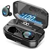 HEYMIX True Wireless Earbuds Bluetooth 5.0 Headphones w/Mic, , IPX7 Waterproof Earphones for Sports, 3D Stereo Audio Touch Co