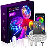 Micomlan 50ft/15M Led Strip Lights,Music Sync Color Changing RGB LED Strip Lights Built-in Mic, Bluetooth app Controlled LED