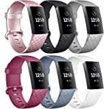 Oumida [6 Pack] Silicone Bands Compatible with Fitbit Charge 4 / Fitbit Charge 3, Replacement Fitness Sport Wristbands for Wo