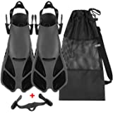 Oumers Snorkel Fins, Travel Size Adjustable Strap Diving Flippers with Mesh Bag and Extra Buckle Connector for Men Women Snor