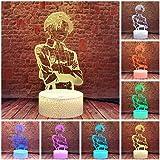Attack on Titan Captain Levi Ackerman Figure 3D Illusion Lamp LED Anime Sleeping Night Light Room Décor